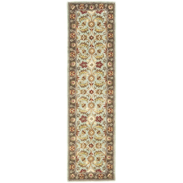 "Safavieh Handmade Heritage Timeless Traditional Blue/ Brown Wool Rug - 2'3"" x 12'"