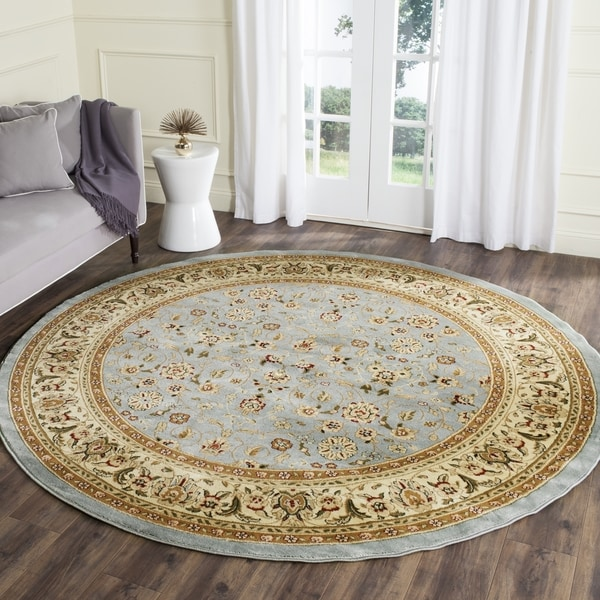 Safavieh Lyndhurst Traditional Oriental Light Blue/ Ivory Rug (4' Round)