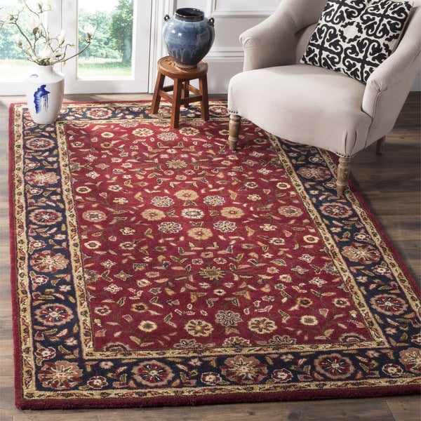 Safavieh Handmade Heritage Timeless Traditional Red/ Navy Wool Rug (8' Square)
