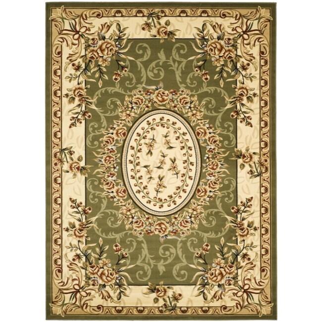Safavieh Lyndhurst Collection Aubussons Sage/ Ivory Rug (9' x 12')