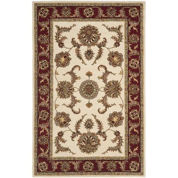 Safavieh Handmade Heritage Traditional Tabriz Ivory/ Red Wool Rug (4' x 6')