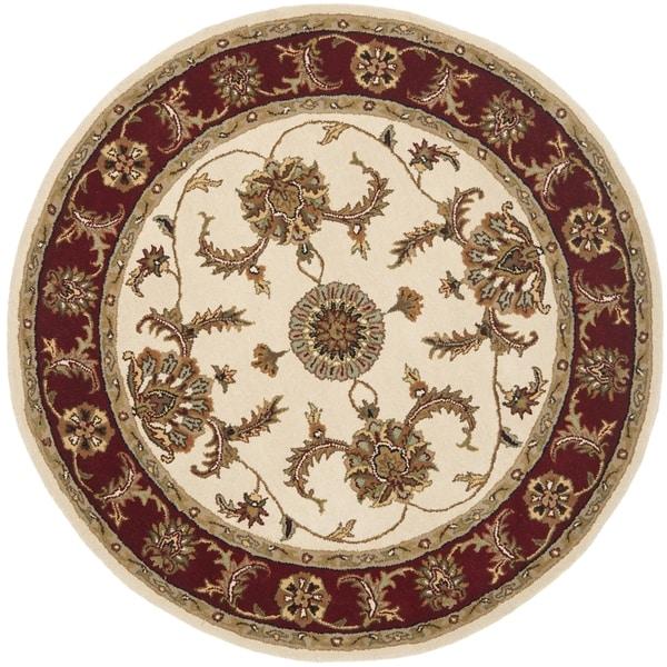 Safavieh Handmade Heritage Traditional Tabriz Ivory/ Red Wool Rug (6' Round)