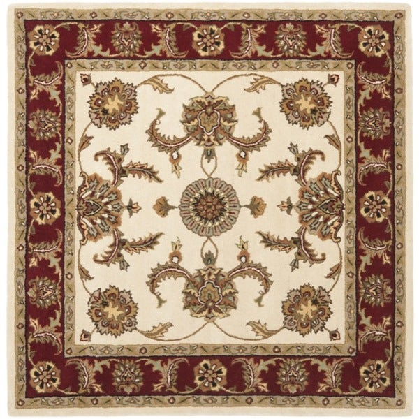 Safavieh Handmade Heritage Traditional Tabriz Ivory/ Red Wool Rug (6' Square)