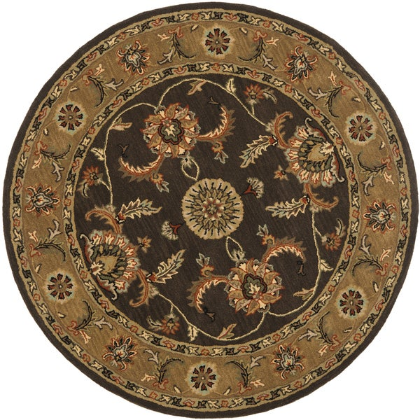 Safavieh Handmade Heritage Traditional Tabriz Brown/ Beige Wool Rug (6' Round)