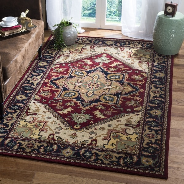 Safavieh Handmade Heritage Traditional Heriz Red Navy Wool Rug 9 X27