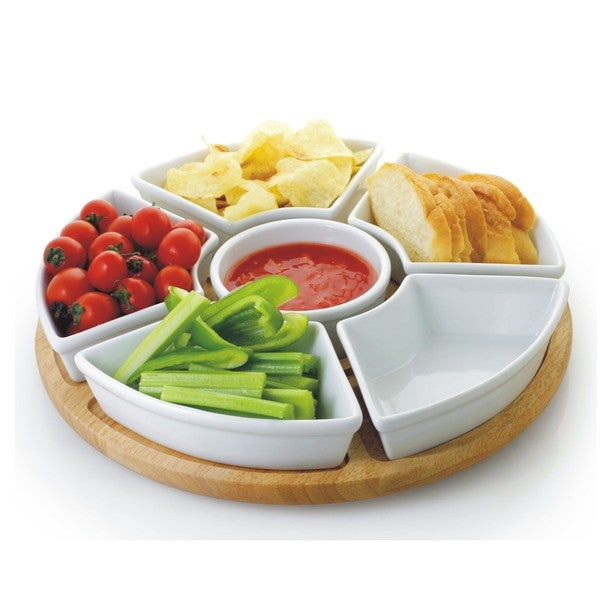 6 Piece White Porcelain Chip and Dip Server with Bamboo Lazy Susan