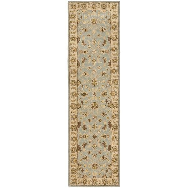 Safavieh Handmade Heritage Timeless Traditional Light Blue/ Beige Wool Rug (2'3 x 16')