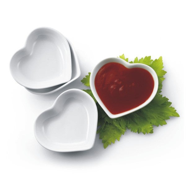 Set of 4 White Porcelain Heart Shaped Sauce/Dipping Dishes