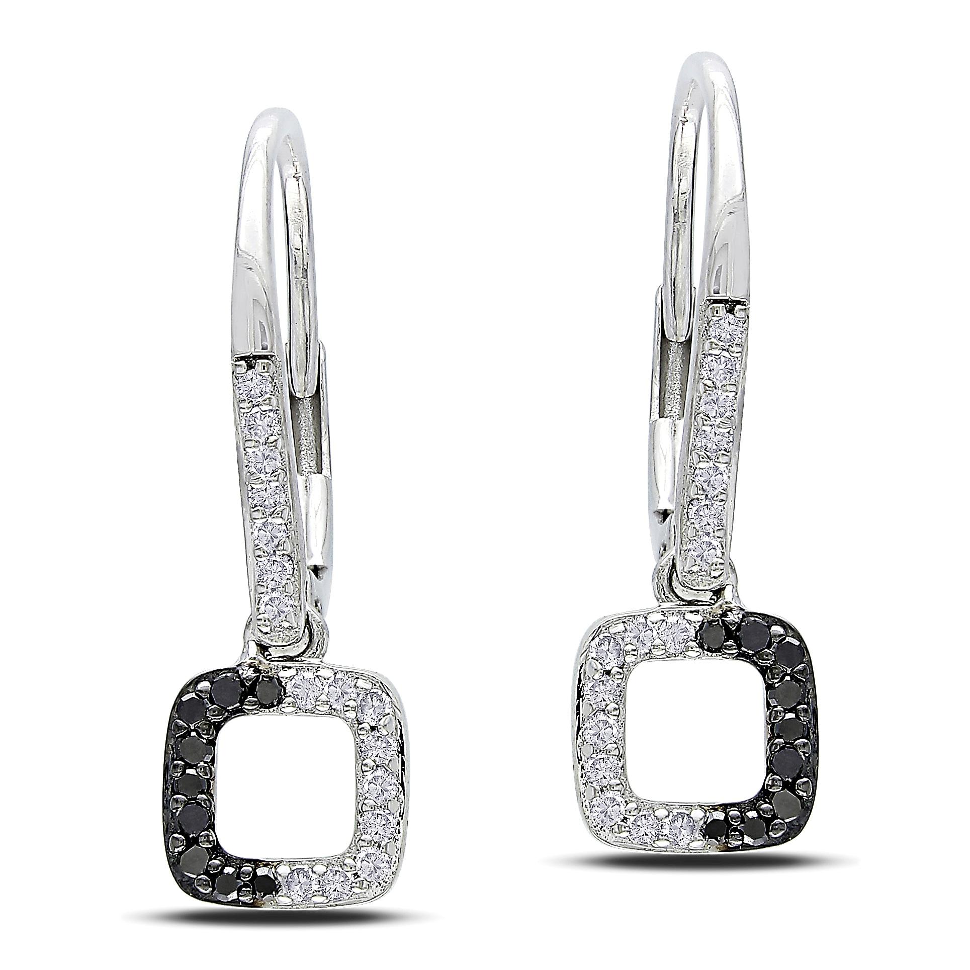 Miadora 14k White Gold 1/5ct TDW Black and White Diamond Earrings