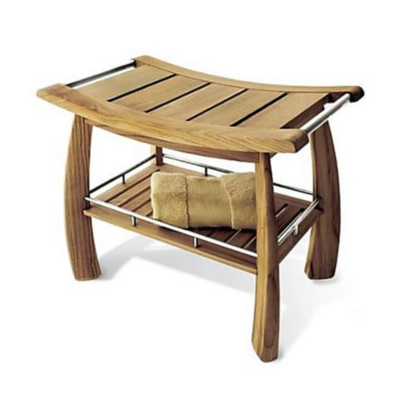 Teak Shower Bench With Shelf Free Shipping Today Overstock 14715430