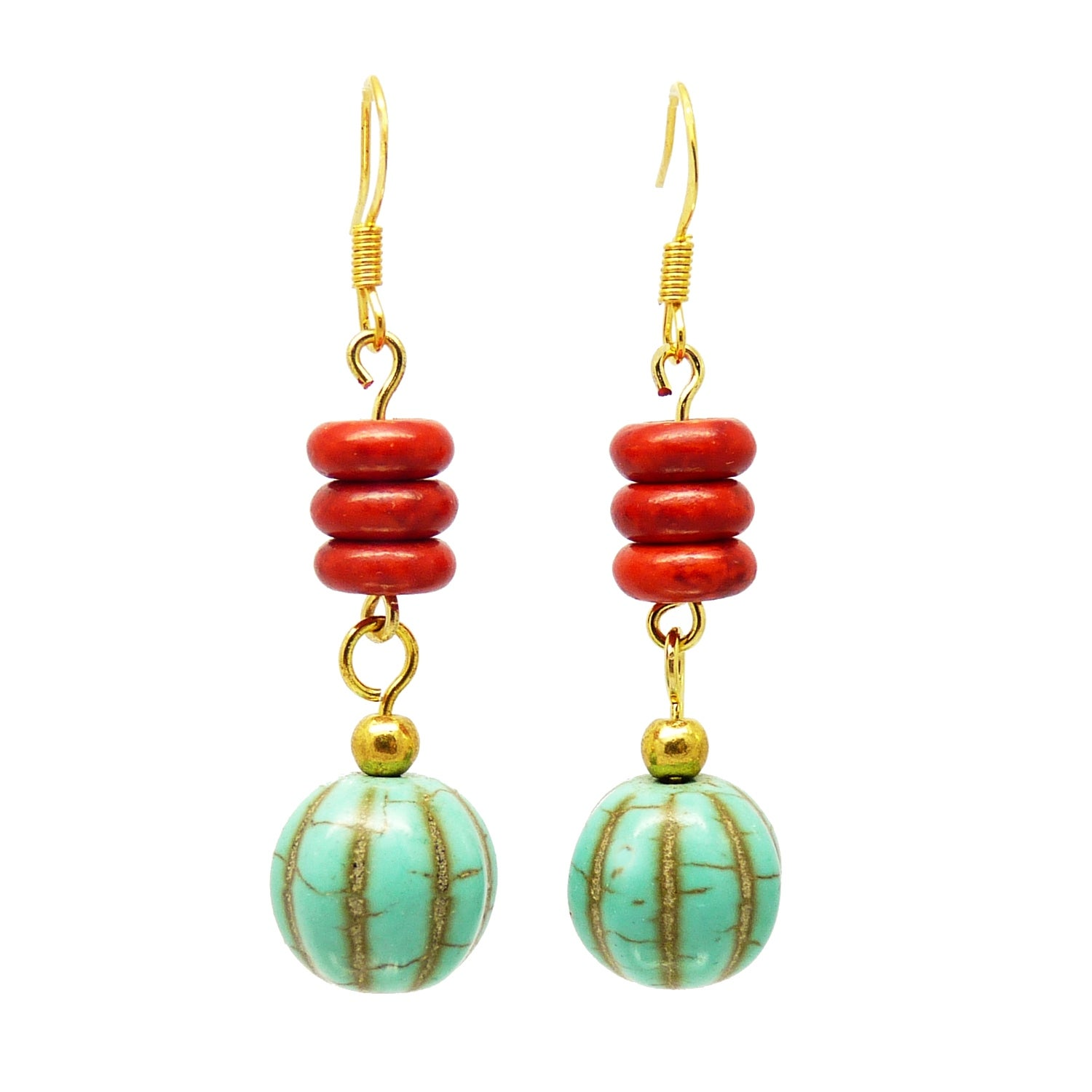 Pretty Little Style Goldtone Turquoise Red Howlite Dangle Earrings