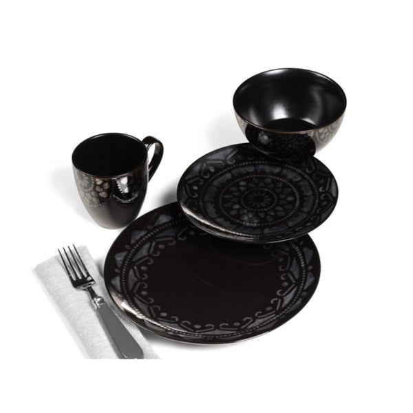 Tabletop Gallery 'Fortuna' Black 16-piece Dinnerware Set