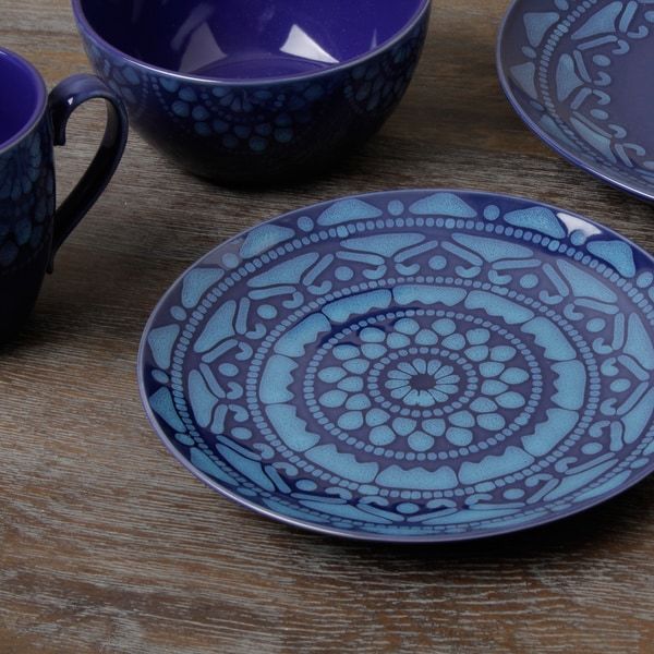 Tabletop Gallery U0027Moroccou0027 Blue 16 Piece Dinnerware Set   Free Shipping  Today   Overstock.com   14715459