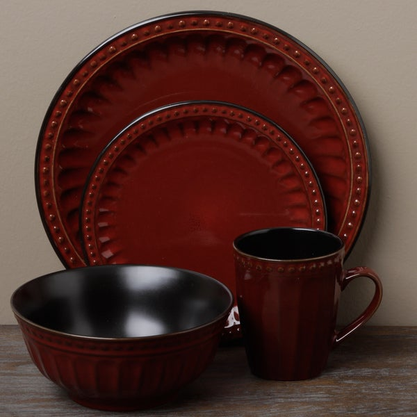 Tabletop Unlimited 'Beads Red' 16-piece Dinnerware Set