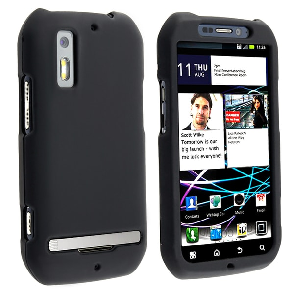 BasAcc Black Snap-on Rubber Coated Case for Motorola Photon MB855 4G