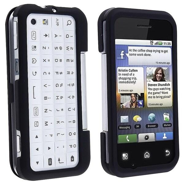 INSTEN Black Snap-on Rubber Coated Phone Case Cover for Motorola MB300/ Backflip