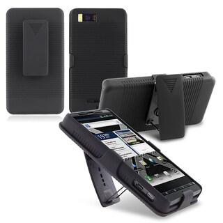 INSTEN Black Snap-on/ Holster Phone Case Cover for Motorola Droid X2