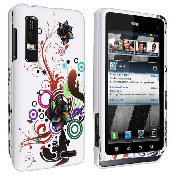 BasAcc White Flower Rubber Coated Case for Motorola Droid 3 XT862