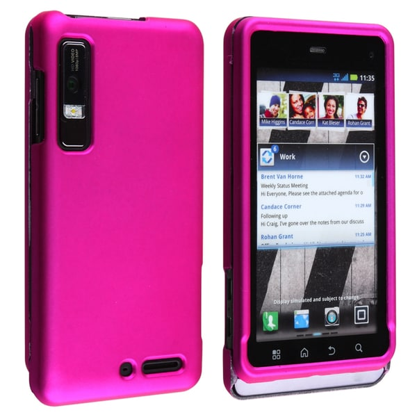 BasAcc Hot Pink Snap-on Rubber Coated Case for Motorola Droid 3 XT862