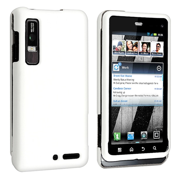 BasAcc White Snap-on Rubber Coated Case for Motorola Droid 3 XT862