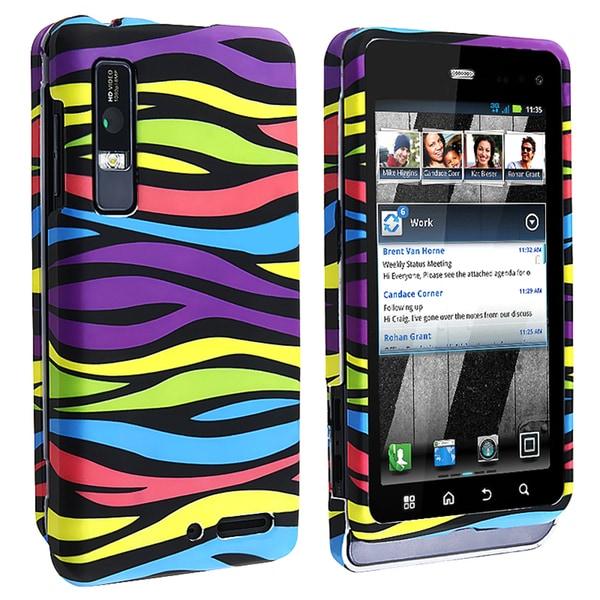 BasAcc Rainbow Zebra Snap-on Case for Motorola Droid 3 XT862