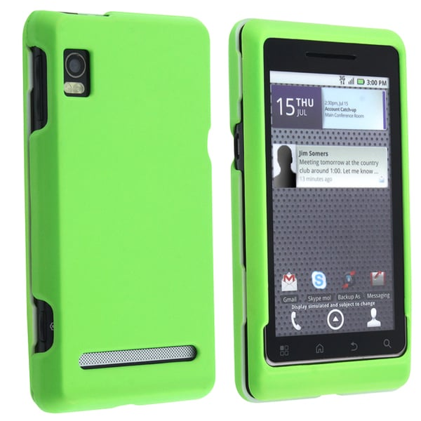 BasAcc Green Snap-on Rubber Coated Case for Motorola A955 Droid 2