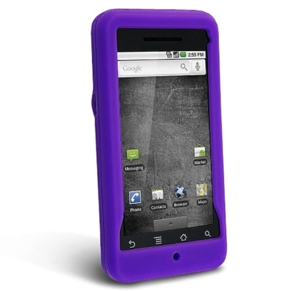 BasAcc Dark Purple Silicone Skin Case for Motorola A855 Droid