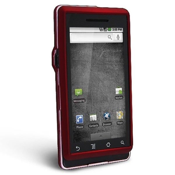 INSTEN Red Snap-on Rubber Coated Phone Case Cover for Motorola A855 Droid