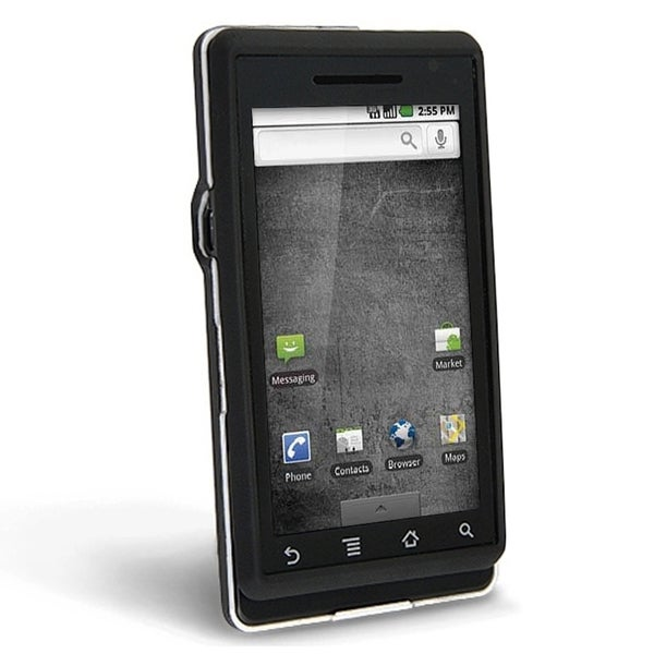 INSTEN Black Snap-on Rubber Coated Phone Case Cover for Motorola A855 Droid