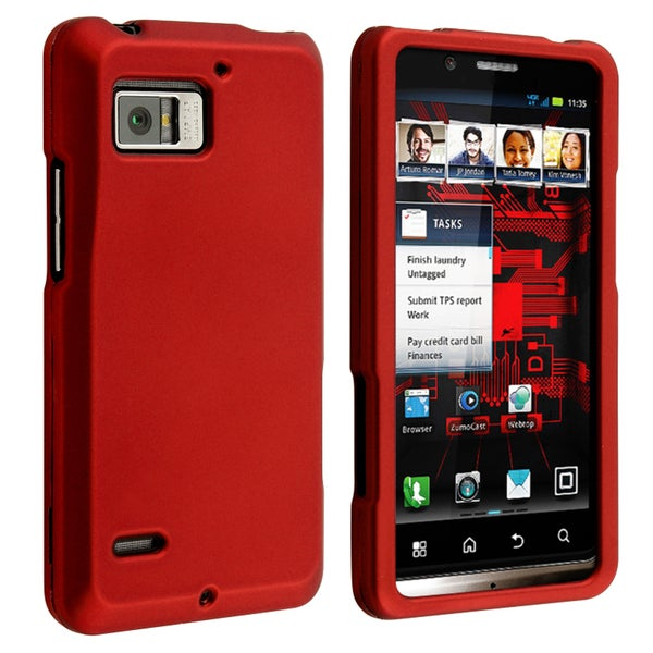 BasAcc Red Snap-on Rubber Coated Case for Motorola Droid Bionic XT875