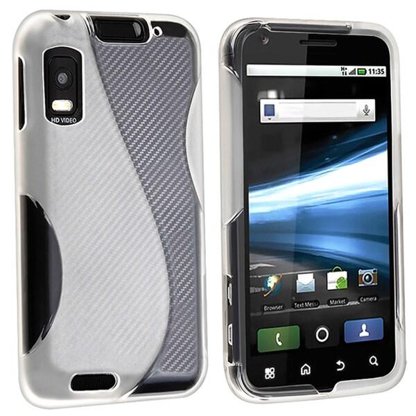 INSTEN White S Shape TPU Rubber Skin Phone Case Cover for Motorola Atrix 4G MB860