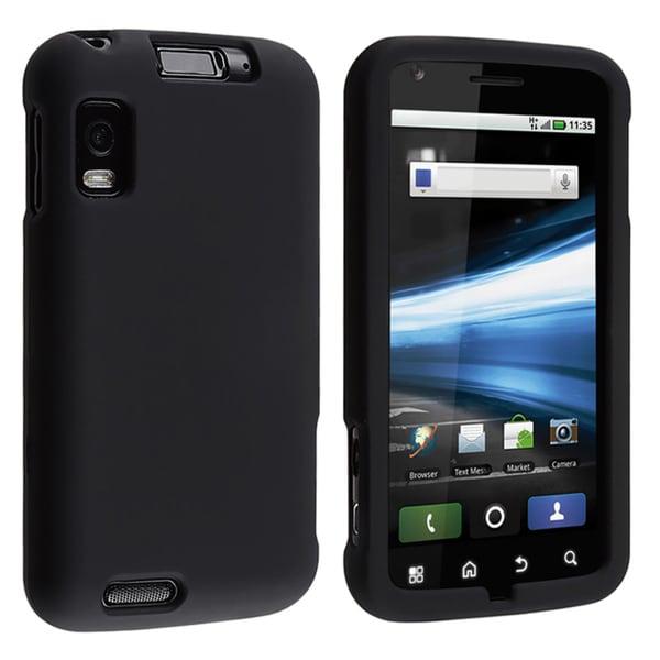 INSTEN Black Snap-on Rubber Coated Phone Case Cover for Motorola Atrix 4G MB860