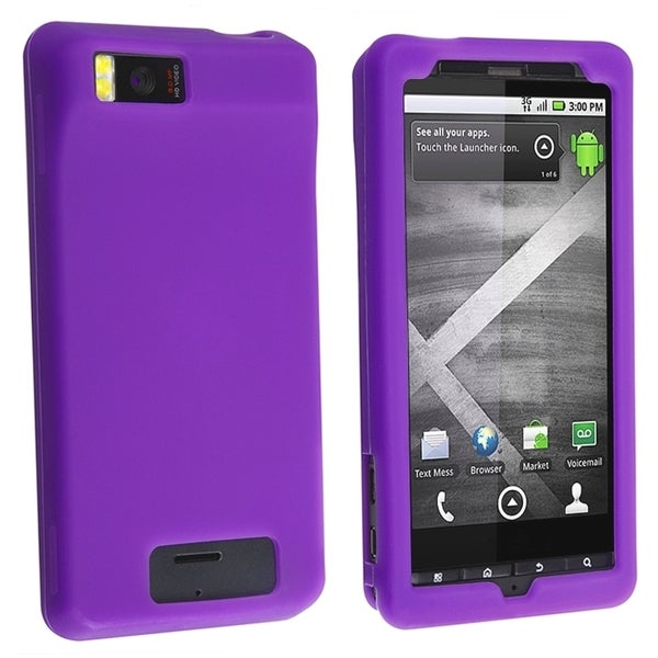 INSTEN Dark Purple Soft Silicone Skin Phone Case Cover for Motorola Droid Xtreme MB810