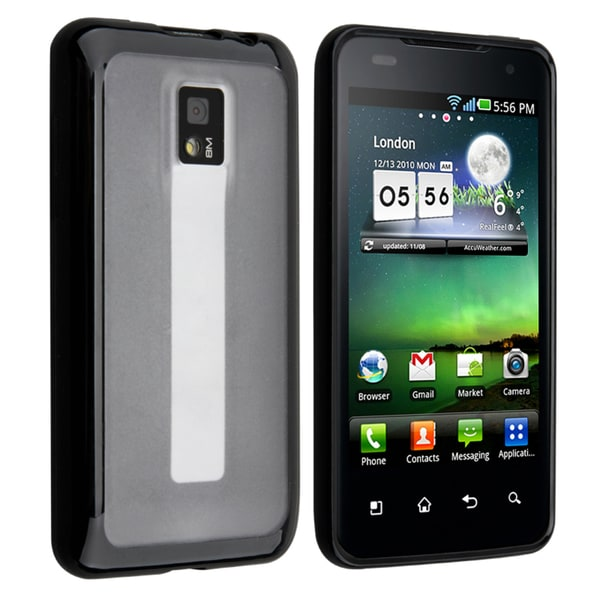 BasAcc Clear with Black Trim TPU Rubber Skin Case for LG G2X
