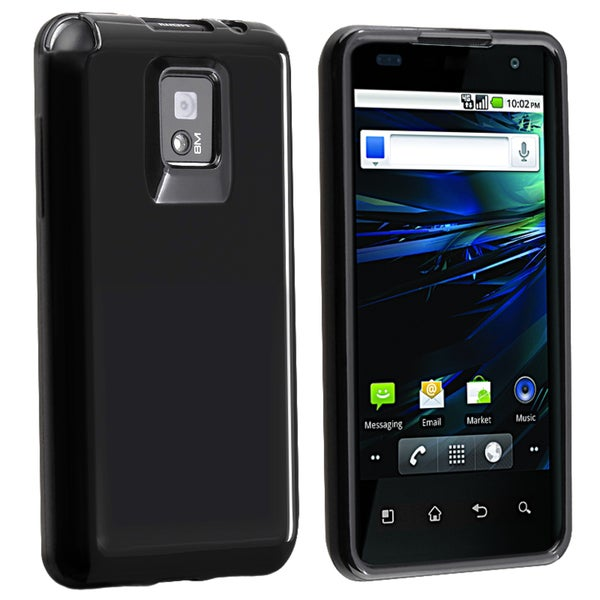 INSTEN Black TPU Rubber Skin Phone Case Cover for LG G2X