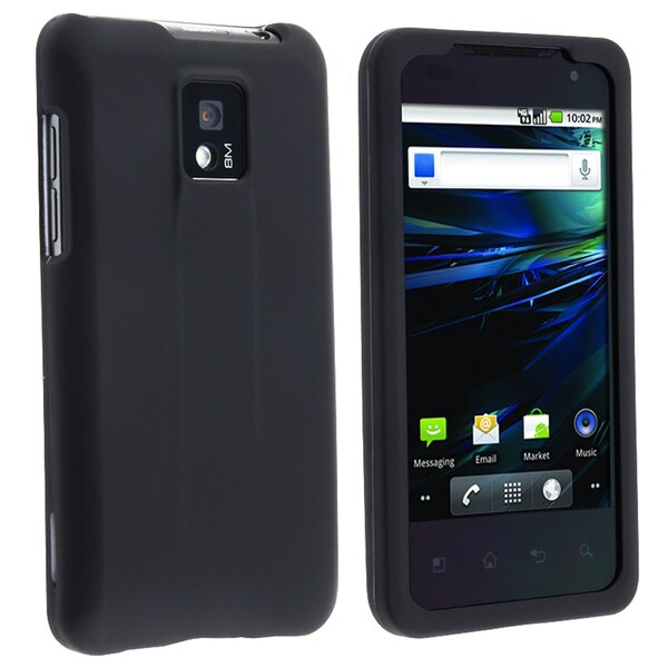 INSTEN Black Snap-on Rubber Coated Phone Case Cover for LG G2x/ T-mobile G2x