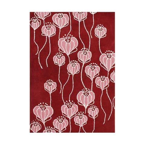 Alliyah Handmade True Red New Zealand Blend Wool Rug - 5' x 8'