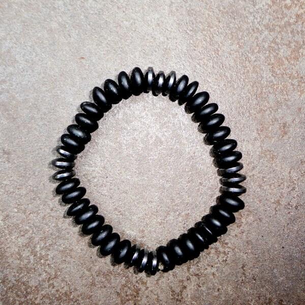 Pavcus Designs Matte Black Stone and Hematite Gemstone Stretch Bracelet