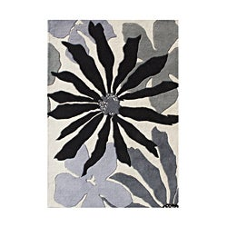 Alliyah Handmade White Sand New Zealand Blend Wool Rug (5' x 8')