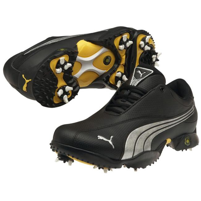 Mens Black Puma Ace 2 (Black/ white/ cyber yellowStyle Athletic (golf)Toe shape RoundImportedLace up closure for secure fitFast twist soft spikesMeasurement Guide Mens Shoe Sizing GuideLeather, synthetic upperModel 185926 04All