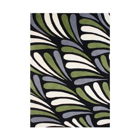 Alliyah Hand Made Black New Zealand Blended Wool Rug (8x10) - 8' x 10'