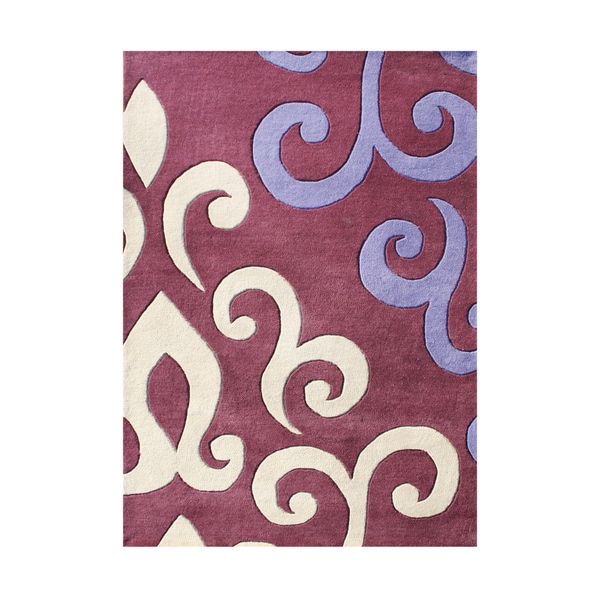 Alliyah Handmade Tufted Mouvewood Purple/ Grey Sand New Zealand Blend Wool Rug (5' x 8')