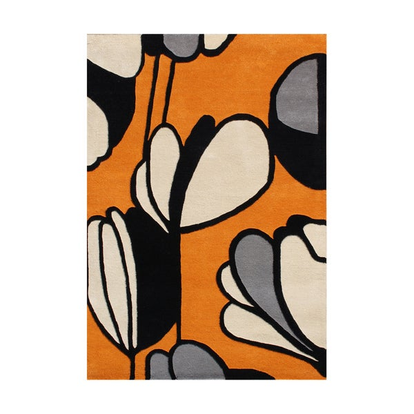 Alliyah Handmade Metro Soft Orange New Zealand Blend Wool Rug (9' x 12') - 9' x 12'