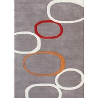 Alliyah Handmade Grey New Zealand Blend Wool Rug 9' x 12' - 9' x 12'
