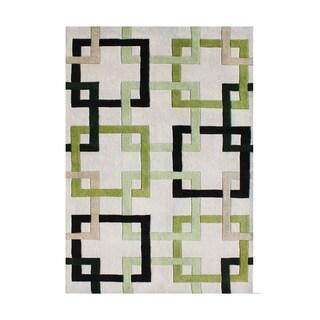 Alliyah Handmade Beige Puzzle New Zealand Blend Wool Rug (9' x 12')
