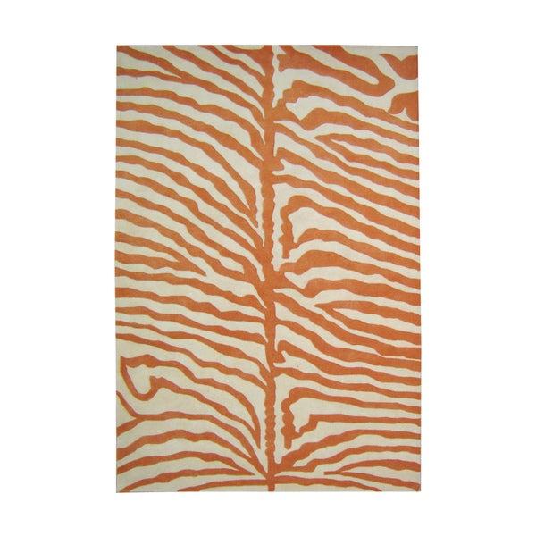 Alliyah Handmade Orange/ Off-white Zebra Pattern New Zealand Blend Wool Rug (9' x 12')