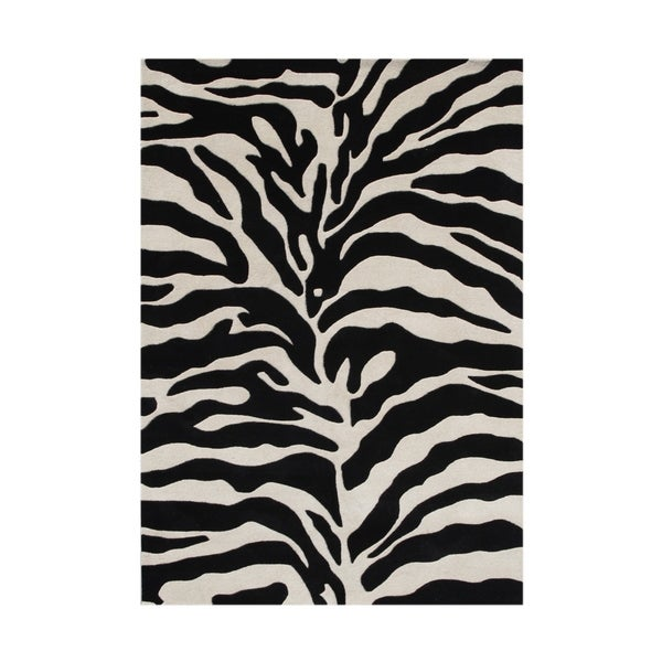 Alliyah Hand Made Tufted Safari Black Made In New Zealand Blend Wool Rug - 9' x 12'