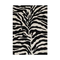Alliyah Hand Made Tufted Safari Black Made In New Zealand Blend Wool Rug 9' x 12' - 9' x 12'