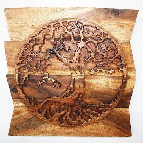 "Handmade 24"" Handmade Walnut Oil Wood Tree of Life Panel (Thailand)"