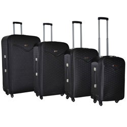 Kemyer Destinations Hipack Black 4-piece Expandable Spinner Luggage Set